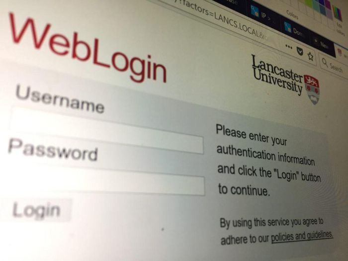 Fake login page for Lancaster University - one of the institutions targeted